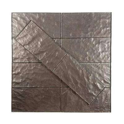 Metallics Brown Textured 3 in. x 6 in. Glass Wall Tile (1 sq. ft. / pack)