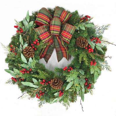30 in Woodmoore Battery Operated Mixed Pine LED Pre-Lit Artificial Wreath with Timer and Plaid Ribbon