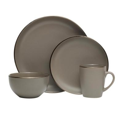 16-Piece Hadlee Gray Stoneware Dinnerware Set (Service for 4)