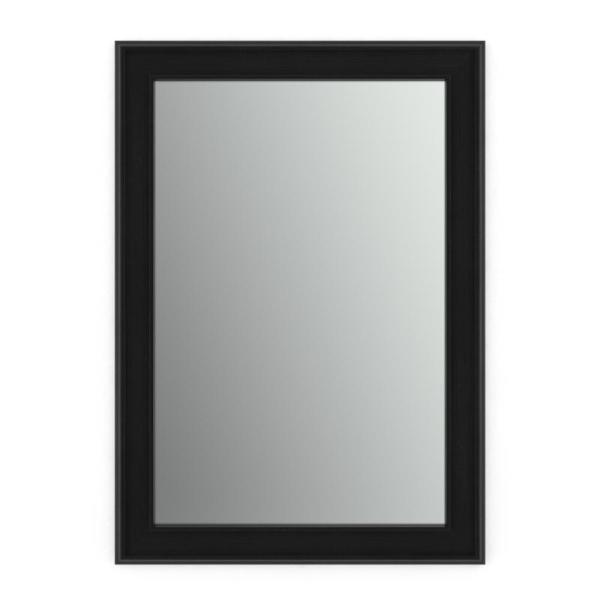 33 in. W x 47 in. H (L1) Framed Rectangular Standard Glass Bathroom Vanity Mirror in Matte Black