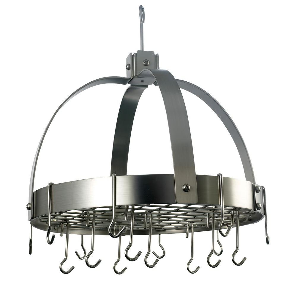 Old Dutch Old Dutch 20 in. x 15.25 in. x 21 in. Dome Satin Nickel Pot Rack with Grid and 16 Hooks