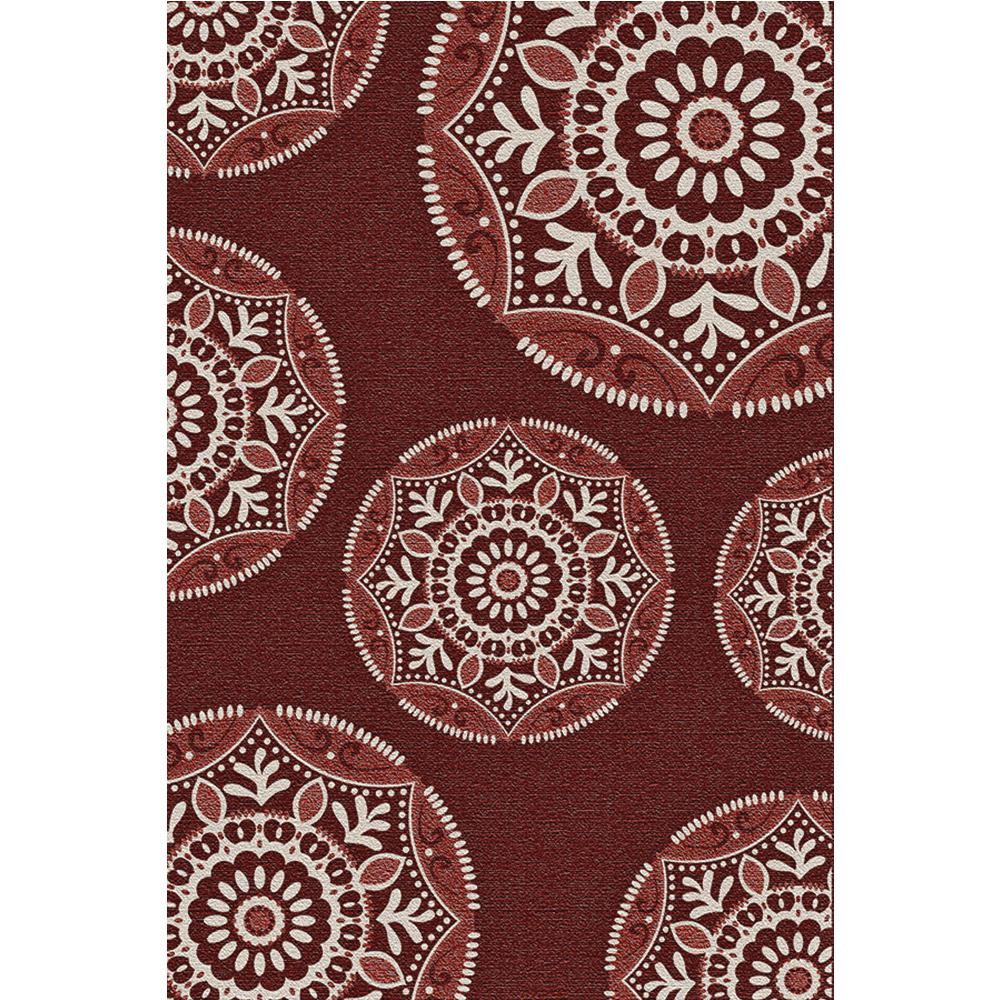 Coastal Medallion Red 7 ft. 5 in. x 10 ft. 8