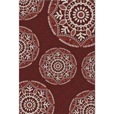 Coastal Medallion Red 7 ft. x 11 ft. Indoor/Outdoor Area Rug
