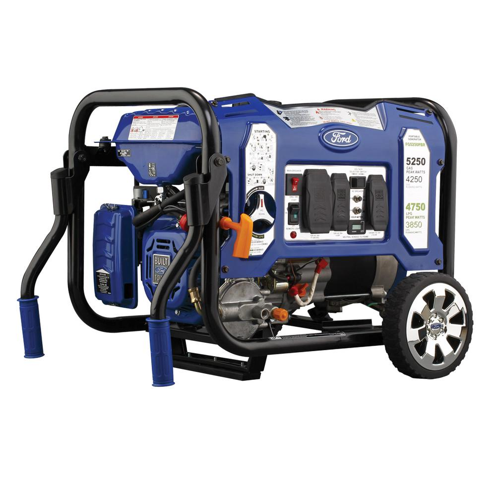 4,250/3,800-Watt Dual Fuel Gasoline/LPG Powered Manual Start Portable Generator