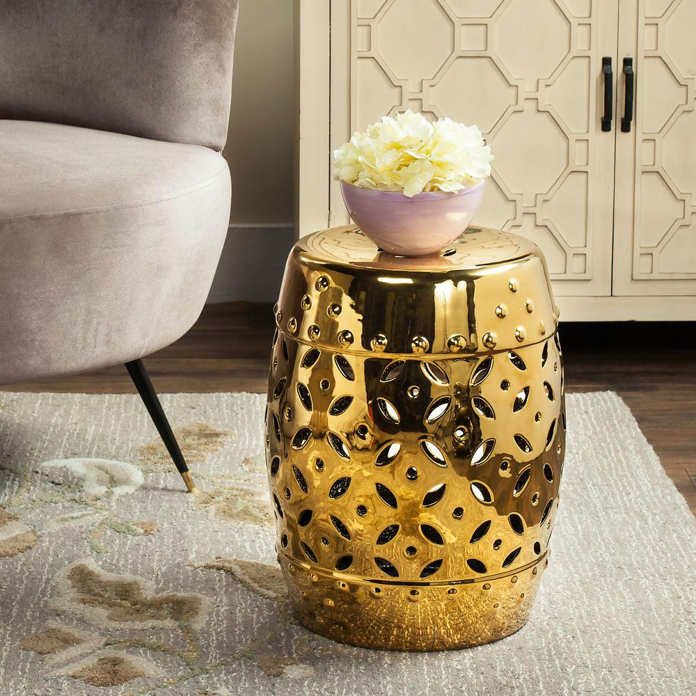 Safavieh Lattice Coin Gold Ceramic Patio Stool Acs4510d