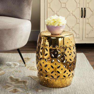 Lattice Coin Gold Ceramic Patio Stool