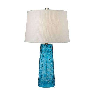 27 in. Blue Hammered Glass Table Lamp with Pure White Linen Shade