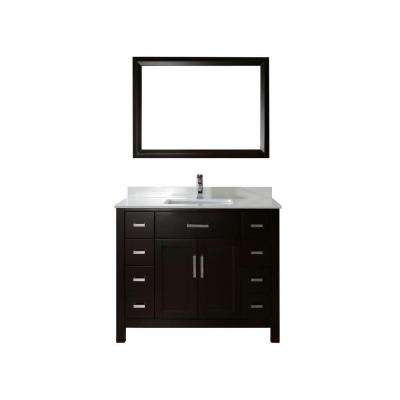 Kelly 42 in. Vanity in Espresso with Solid Surface Marble Vanity Top in Carrara White and Mirror