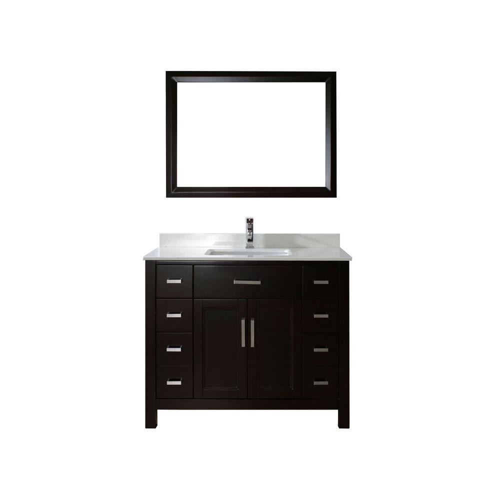 Kelly 42 in. Vanity in Espresso with Solid Surface Marble Vanity