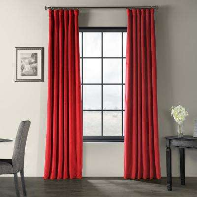 Signature Moroccan Red Blackout Velvet Curtain - 50 in. W x 96 in. L