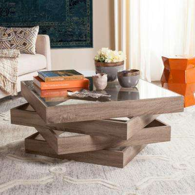 Anwen Mid Century Geometric Wood Light Gray Coffee Table