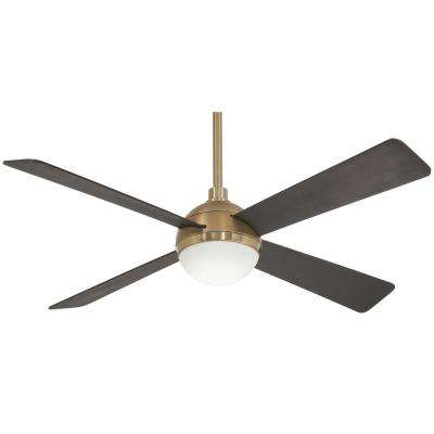 Orb 54 in. Integrated LED Indoor Brushed Brass Ceiling Fan with Light with Remote Control