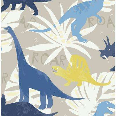 Kids Pack Party Blue and Yellow Dinosaur Wallpaper