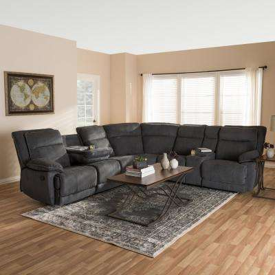 Sabella 7-Piece Dark Grey Fabric Reclining Sectional