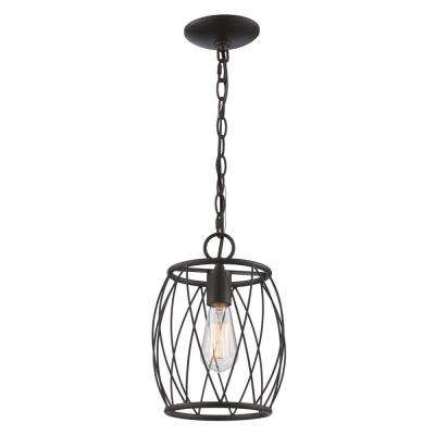 Rhythm 1-Light Oil Rubbed Bronze Pendant with Wire Shade