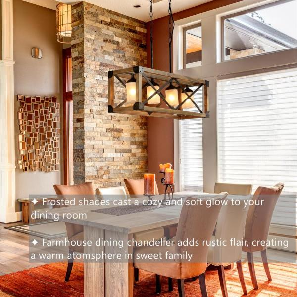Lnc Mari 4 Light Aged Wood And Rusty, Wood Chandelier Dining Room