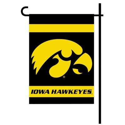 NCAA 13 in. x 18 in. Iowa 2-Sided Garden Flag Set with 4 ft. Metal Flag Stand