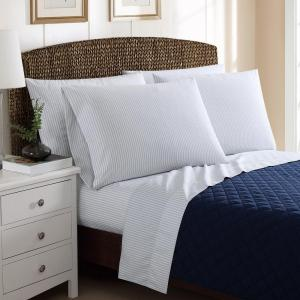 Click here to buy  6-Piece Printed Ticking Stripe Grey Full Sheet Sets.