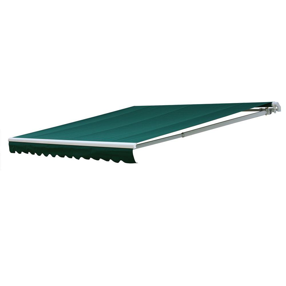 NuImage Awnings 14 ft. 7000 Series Manual Retractable Awning (122 in. Projection) in Green