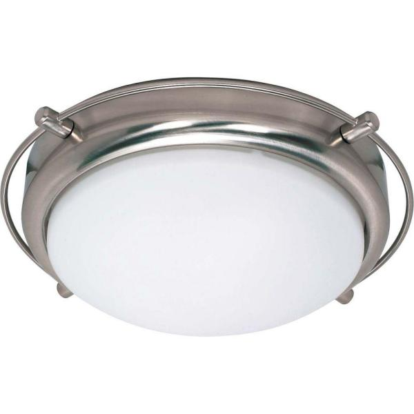 Nestra 2-Light Brushed Nickel Flush Mount with Satin Frosted Glass