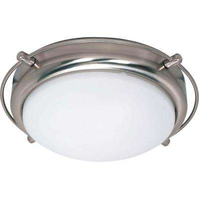 Nestra 2-Light Brushed Nickel Flushmount with Satin Frosted Glass