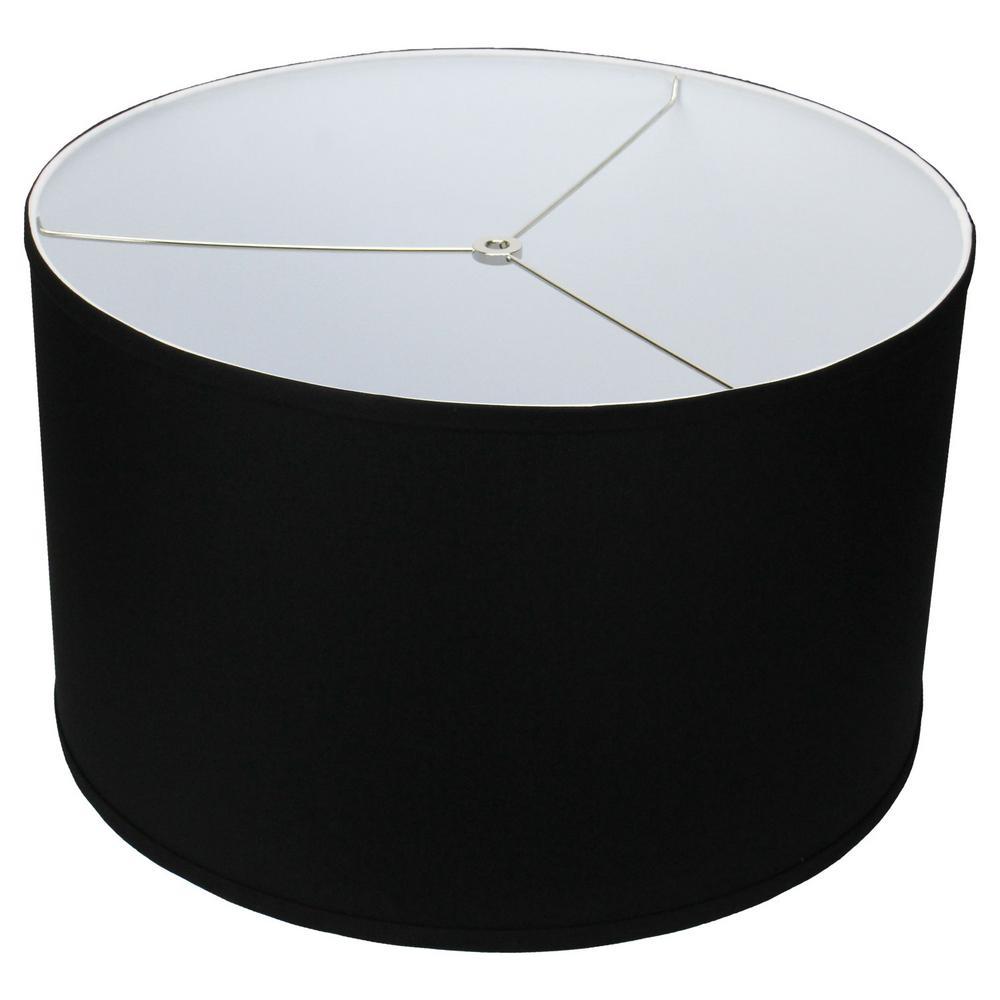 18 in. Top Diameter x 18 in. Bottom Diameter x 11 in. H Linen Black Drum Lamp Shade