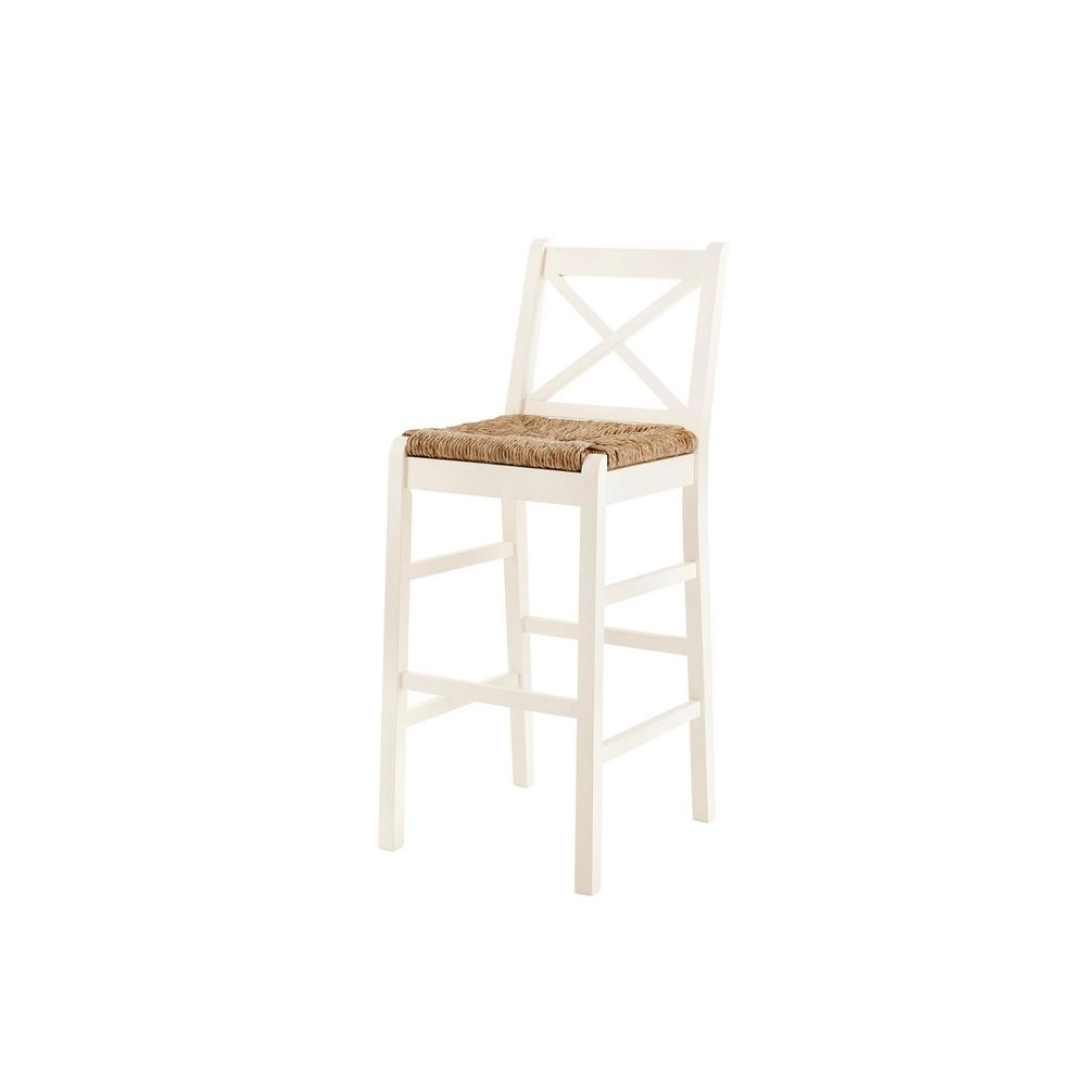 HomeDecoratorsCollection Home Decorators Collection Dorsey Ivory Wood Bar Stool with Back and Rush Seat (17.72 in. W x 44.49 in. H)