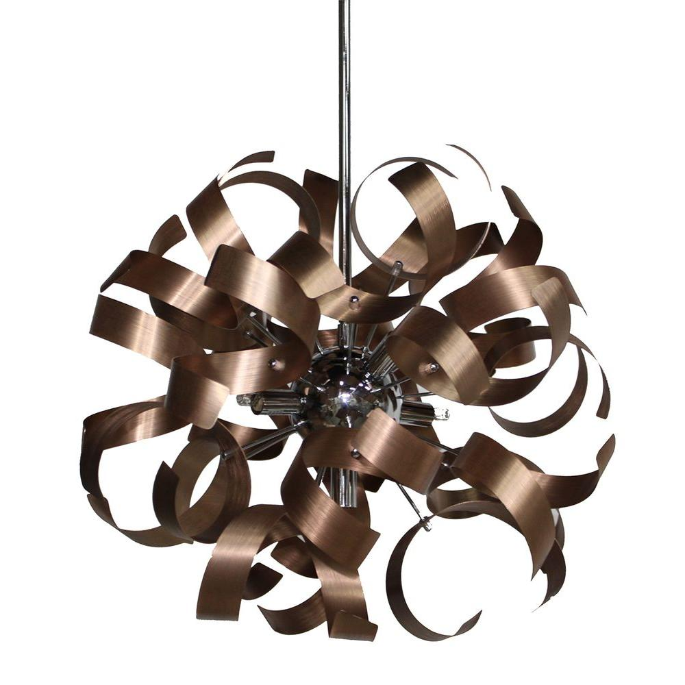 Steen 5-Light Brushed Copper and Chrome Pendant
