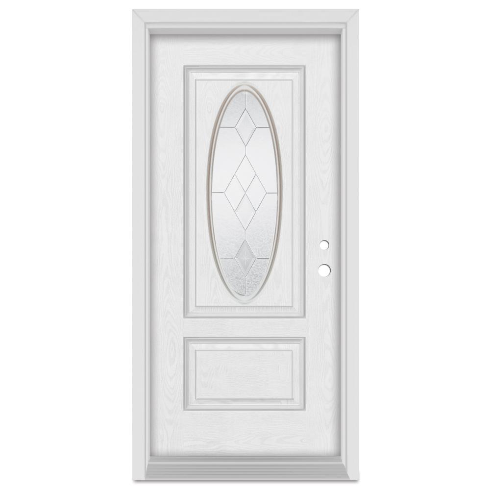 Stanley Doors 32 in. x 80 in. Geometric Left-Hand 3/4 Oval Zinc Finished Fiberglass Oak Woodgrain Prehung Front Door Brickmould