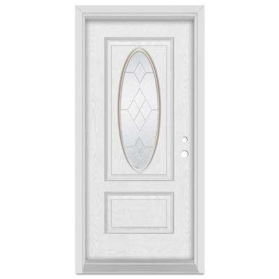 32 in. x 80 in. Geometric Left-Hand 3/4 Oval Zinc Finished Fiberglass Oak Woodgrain Prehung Front Door Brickmould