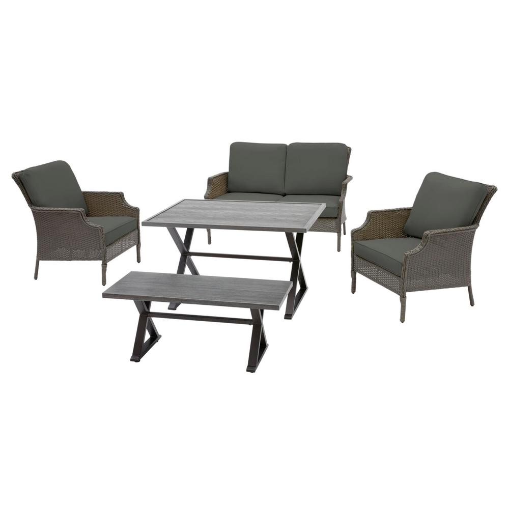 Hampton Bay Grayson 5-Piece Ash Gray Wicker Outdoor Patio Dining Set with CushionGuard Graphite Dark Gray Cushions was $699.0 now $559.2 (20.0% off)