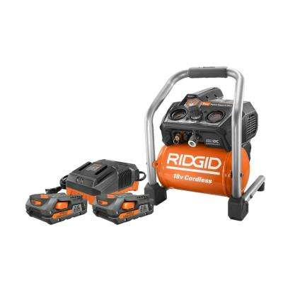18-Volt Lithium-Ion Cordless Brushless 1 Gal. Air Compressor with (2) 2.0 Ah Batteries and Charger