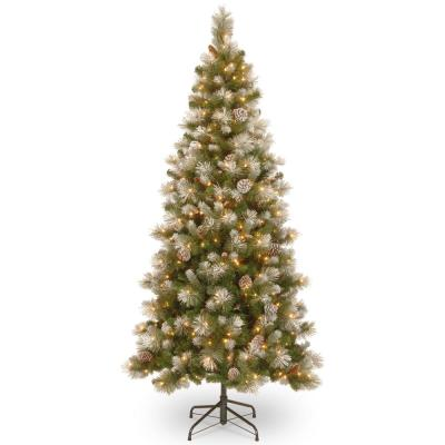 7.5 ft. Snow Capped Mountain Slim Pine Tree with Clear Lights