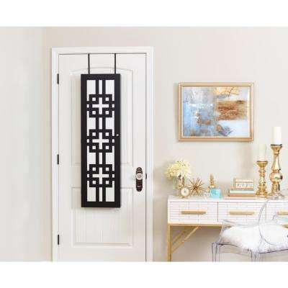 Modern Jewelry Armoire with Decorative Mirror - Black