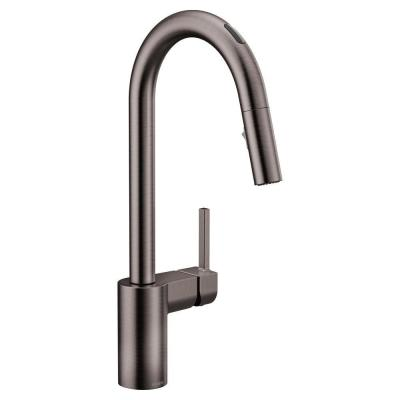 U by Moen Align Single-Handle Pull-Down Sprayer Smart Kitchen Faucet with Voice Control in Spot Resist Black Stainless