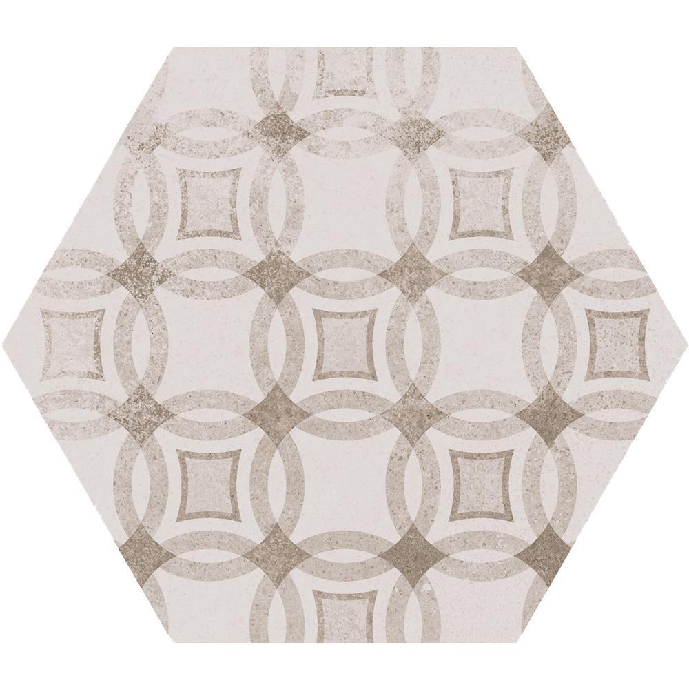 Patternia Hexagon Encaustic 7 in. x 8 in. Glazed Ceramic Wall