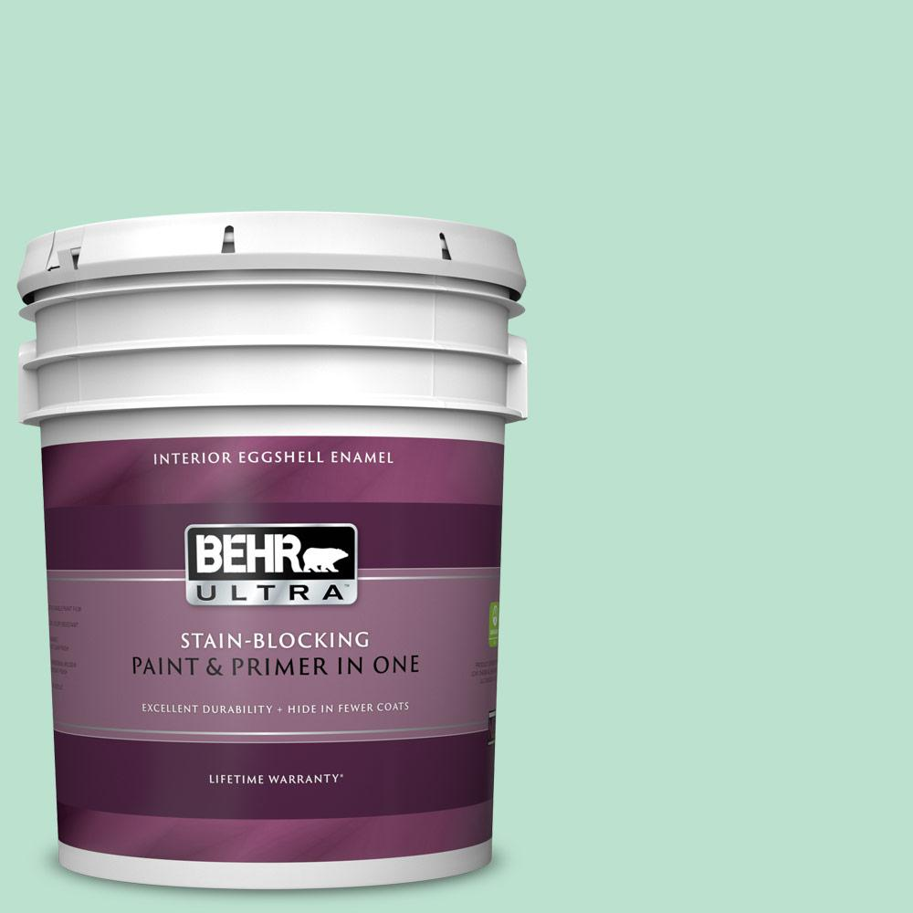 Behr Ultra 5 Gal P410 2 Spearmints Eggshell Enamel Interior Paint And Primer In One 275005 The Home Depot