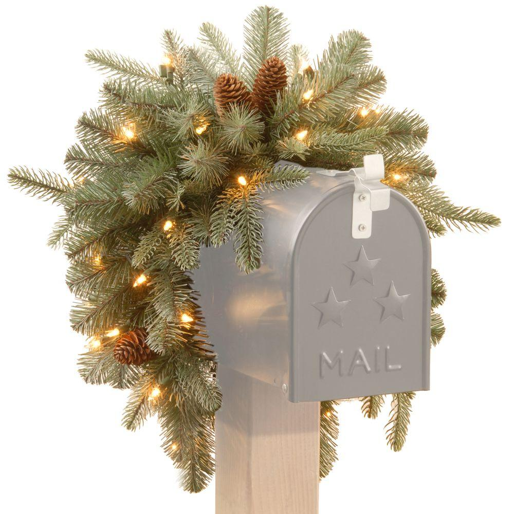 battery operated feel real alaskan spruce artificial mailbox swag with pinecones and