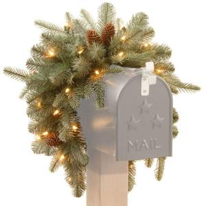 battery operated feel real alaskan spruce artificial mailbox swag with pinecones and 35 clear led lights pefa1 307l 3mb1 the home depot