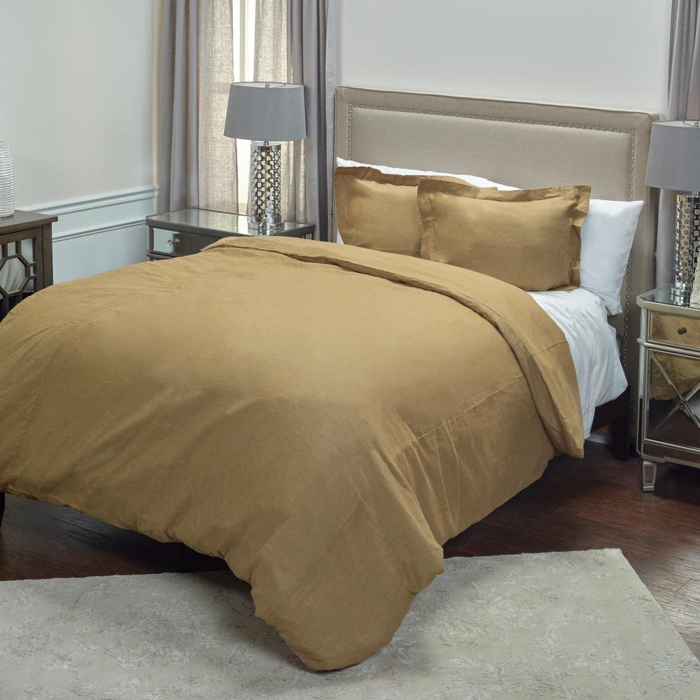 Khaki Solid King Linen Duvet Cover