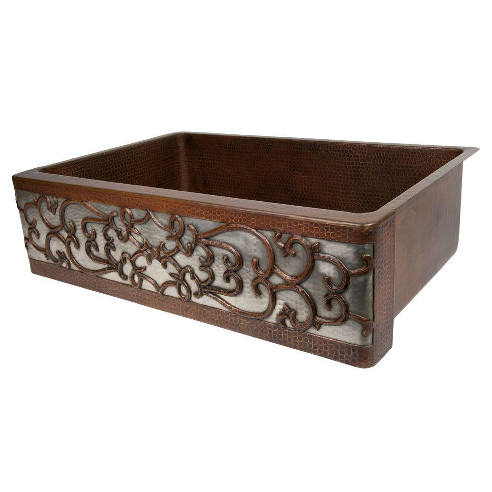 Under Counter/Surface-Mount Copper 33 in. 0-Hole Single Bowl Kitchen Sink in