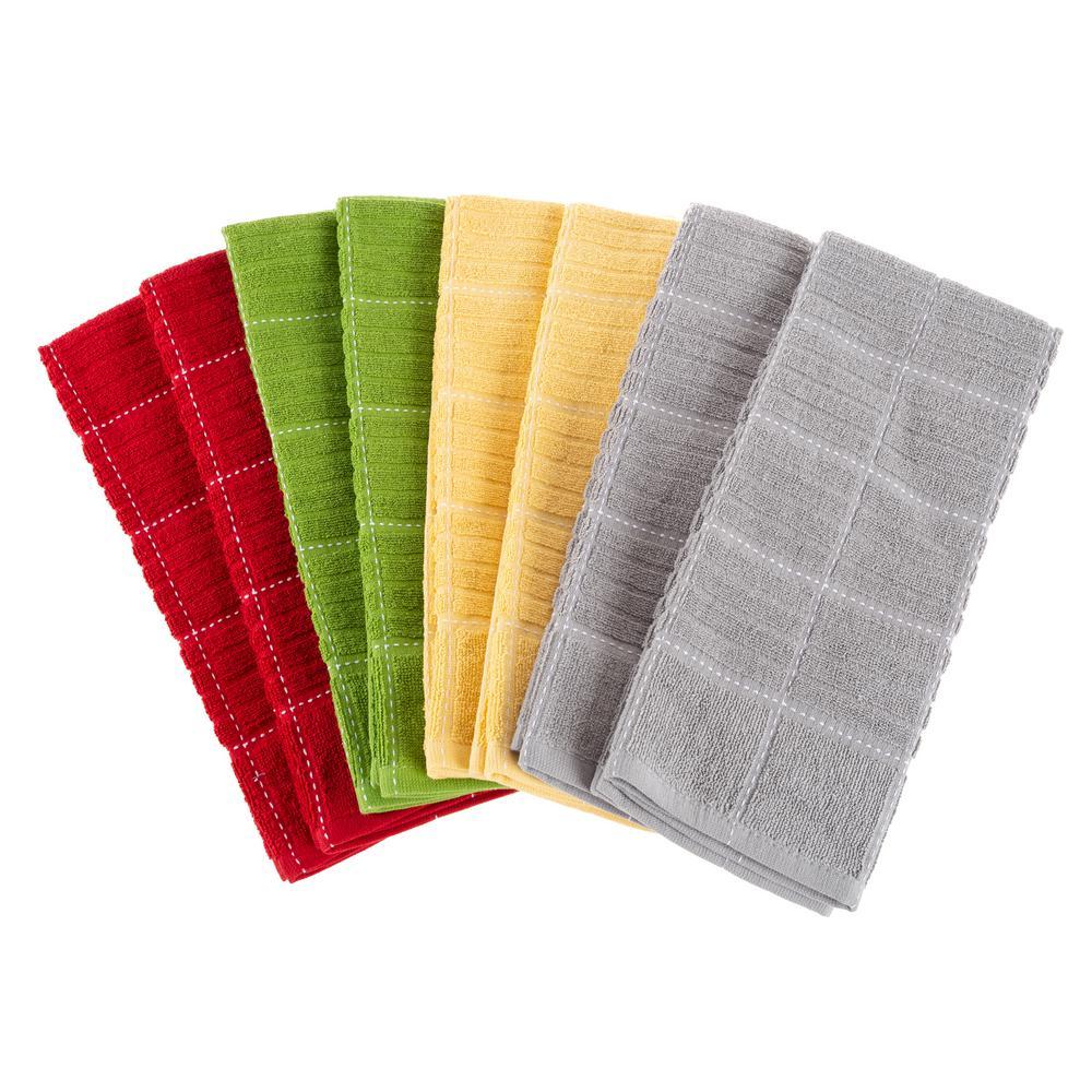 Multi-Color Checked Weave Cotton Kitchen Towel Set (8-Pieces)