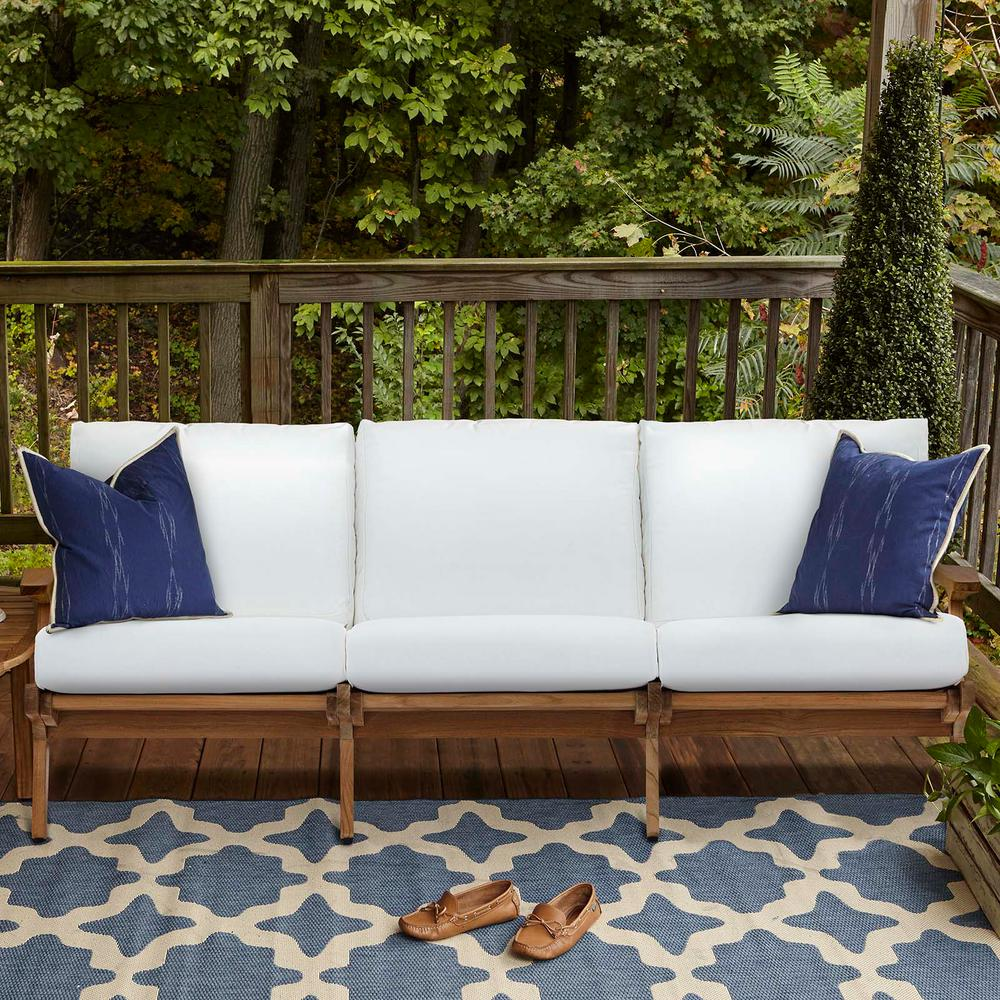 MODWAY Saratoga Teak Outdoor Sofa in Natural with White Cushions