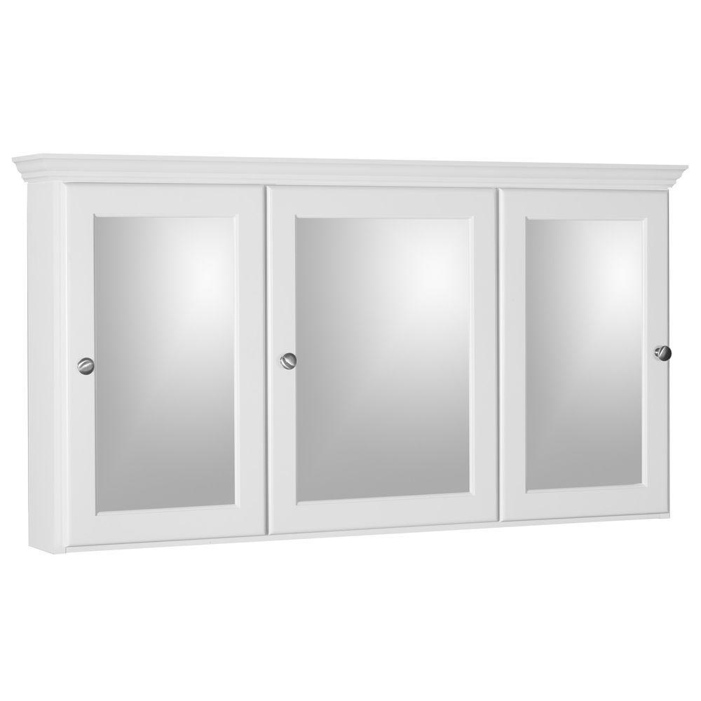 Ultraline 48 in. W x 27 in. H x 6-1/2 in. D Framed Tri-View Surface-Mount Bathroom Medicine Cabinet in Satin White