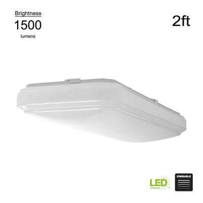 Wrap Style 2 ft. Rectangular White 100 Wat Equivalent Integrated LED Flushmount (Bright/Cool White, Dimmable)