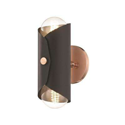 Immo 2-Light Polished Copper Wall Sconce with Black Shade