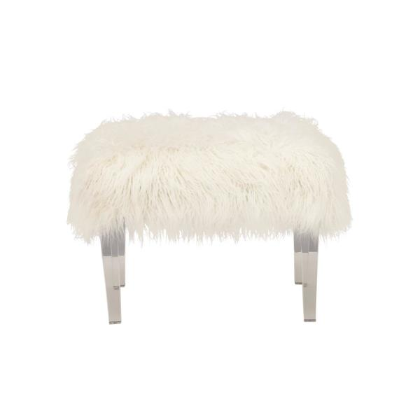 Fine 18 In H X 25 In W White Faux Fur Stool Squirreltailoven Fun Painted Chair Ideas Images Squirreltailovenorg