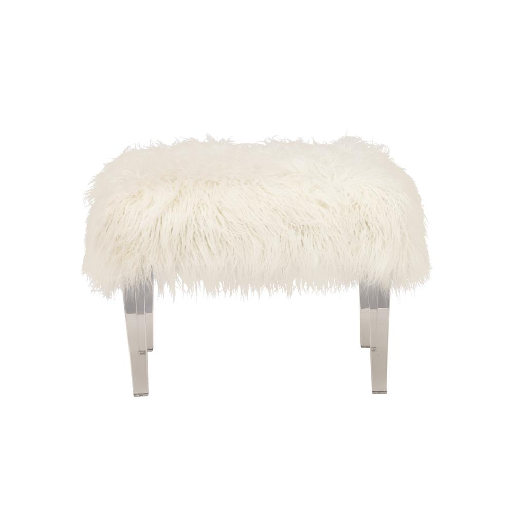 18 In H X 25 In W White Faux Fur Stool 33002 The Home