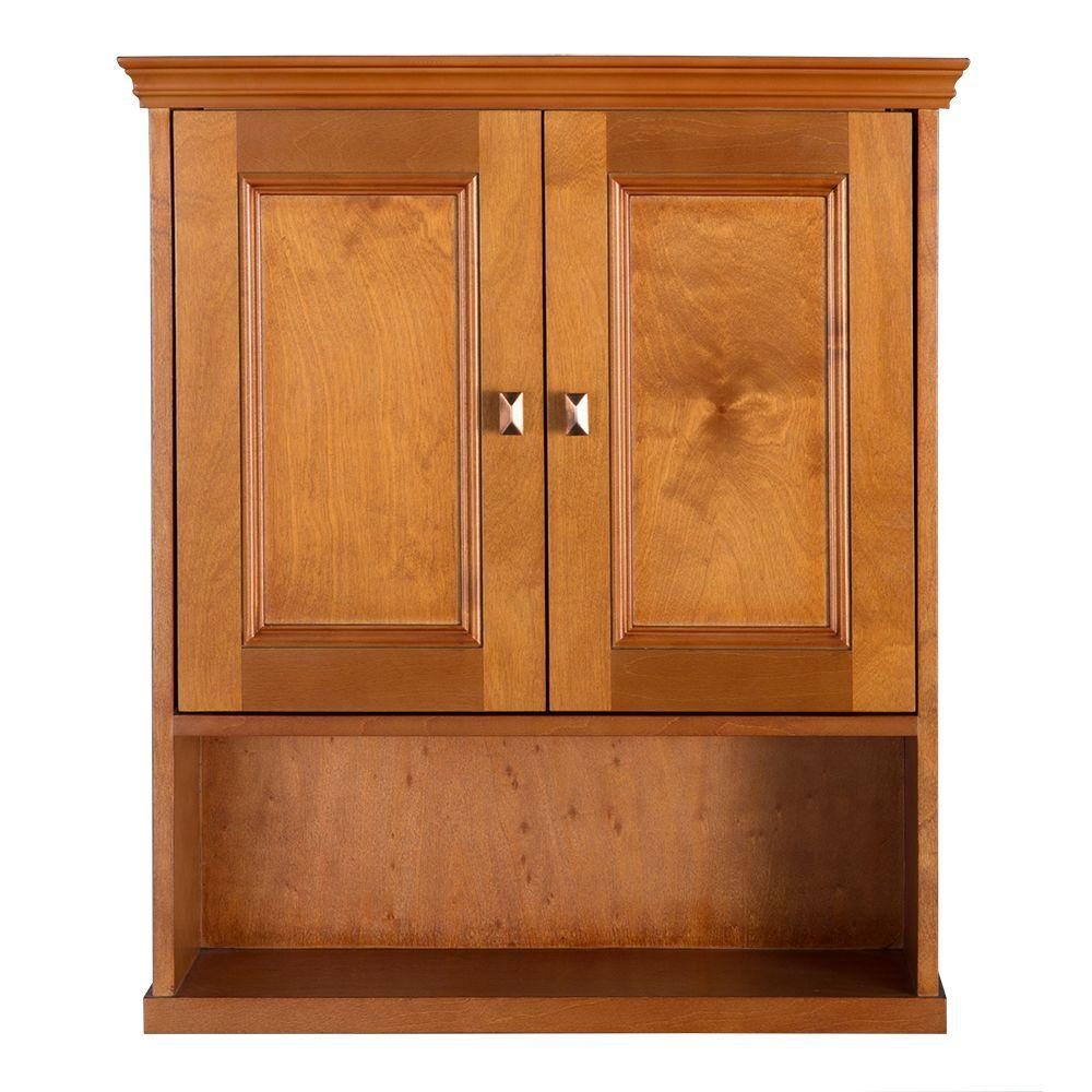 Home Decorators Collection Exhibit 23 3 4 In W Bathroom Storage Wall Cabinet In Rich Cinnamon