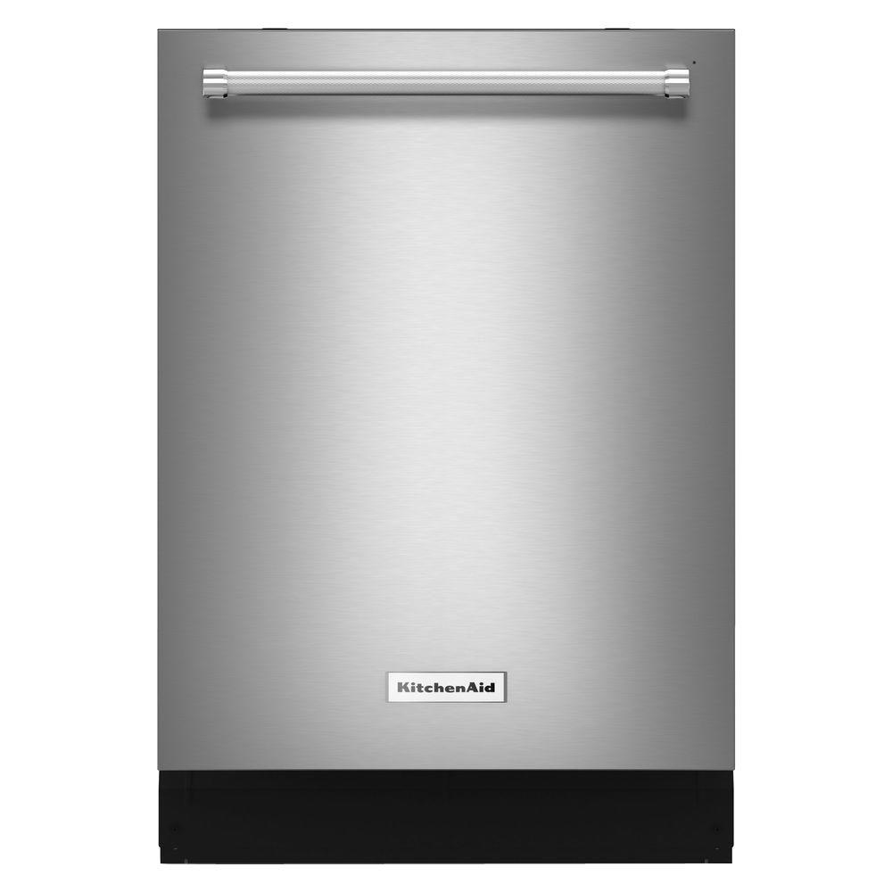 KitchenAid 24 in. Top Control Built-in Tall Tub Dishwasher in Stainless Steel with Stainless Steel Tub and ProScrub Option